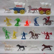 Figuras de Goma y PVC: LOTE 41 FIGURAS OESTE-COMANSI-FORT APACHE-OTRAS-INDIO-VAQUERO-CARRO-CACTUS-CARTEL-CABALLO-AÑOS 70-80. Lote 91953820