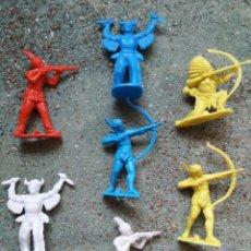 Figuras de Goma y PVC: LOTE FIGURAS DE GOMARSA. SERIE INDIOS COMANCHES. PLASTICO. 60 MM.. Lote 92283495