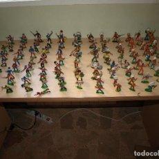 Figuras de Goma y PVC: LOTE DE 114 FIGURAS DE INDIOS Y VAQUEROS - PINTADOS Y EN PERFECTO ESTADO. Lote 92930310