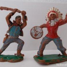 Figuras de Goma y PVC: LOTE FIGURAS DEL OESTE INDIO VAQUERO/COWBOY COMO REAMSA SERIE PEQUEÑA 5 CM MARX TOYS AÑOS 60. PTOY. Lote 41542532