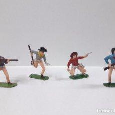 Figuras de Goma y PVC: CUATRO VAQUEROS . REALIZADOS POR JECSAN . AÑOS 70. Lote 94061315
