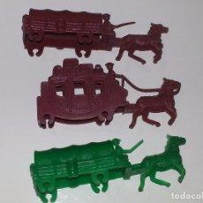 Figuras de Goma y PVC - MONTAPLEX ESJUSA : LOTE DE 3 CARAVANAS CARROS DILIGENCIA DEL OESTE SOBRE SORPRESA AÑOS 70 - 94291058