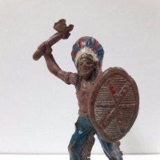 Figuras de Goma y PVC: GUERRERO INDIO . REALIZADO POR TEIXIDO . AÑOS 50 EN GOMA. Lote 95078787