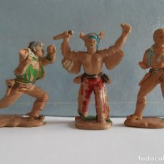 Figuras de Goma y PVC: REAMSA SERIE INDIOS COMANCHES Y TEXAS COWBOYS 2 VAQUEROS Y 1 INDIO OESTE AÑOS 60-70. PTOY. Lote 95161271