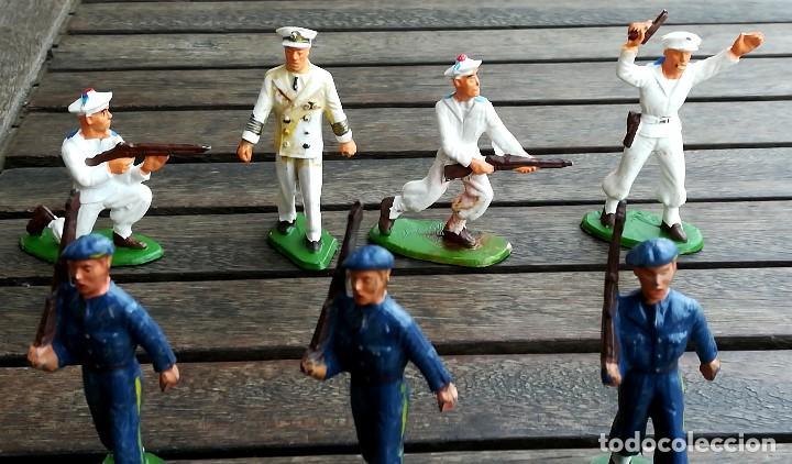 Figuras de Goma y PVC: 14 SOLDADOS FRANCESES, AÑOS 60,STRALUX, 4 DE MARINA,10 BANDA DE MUSICA,BANDERA Y OFICIAL,NO PLOMO - Foto 2 - 95243127