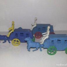 Figuras de Goma y PVC - MONTAPLEX ESJUSA : ANTIGUO LOTE DE 3 CARAVANAS DILIGENCIAS DEL OESTE KIOSCO AÑOS 70 - 95855643
