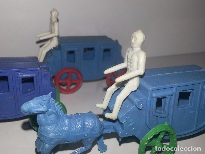 Figuras de Goma y PVC: MONTAPLEX ESJUSA : ANTIGUO LOTE DE 3 CARAVANAS DILIGENCIAS DEL OESTE KIOSCO AÑOS 70 - Foto 3 - 95855643