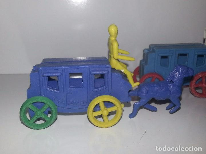 Figuras de Goma y PVC: MONTAPLEX ESJUSA : ANTIGUO LOTE DE 3 CARAVANAS DILIGENCIAS DEL OESTE KIOSCO AÑOS 70 - Foto 5 - 95855643