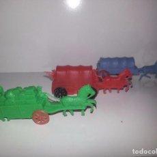 Figuras de Goma y PVC: MONTAPLEX ESJUSA : ANTIGUO LOTE DE 3 CARAVANAS DILIGENCIAS DEL OESTE KIOSCO AÑOS 70. Lote 95855655