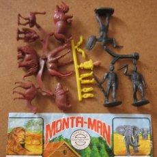Figuras de Goma y PVC: MONTAPLEX MONTAMAN MONTA-MAN Nº 45 GRANJA RESERVA ÁFRICA SOBRE ABIERTO CON MATRICES SIN DESTROQUELAR. Lote 95941251