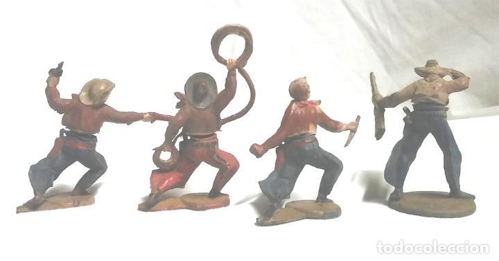Figuras de Goma y PVC: 4 Vaqueros Cowboy casa Gama años 50, cintura dos piezas desmontables - Foto 2 - 96091291
