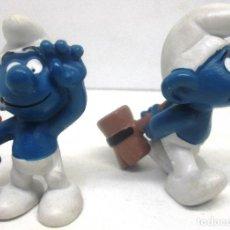 Figuras de Goma y PVC Schleich: LOTE 2 FIGURAS PVC PITUFOS MARTILLO,MAZA,PITUFO SMURF SMURFS SCHLUMPF PUFF PEYO SCHLEICH 1974-78. Lote 96626448