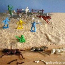 Figuras de Goma y PVC: LOTE FIGURAS VAQUEROS Y CABALLOS OESTE AÑOS 80-90. Lote 96690691