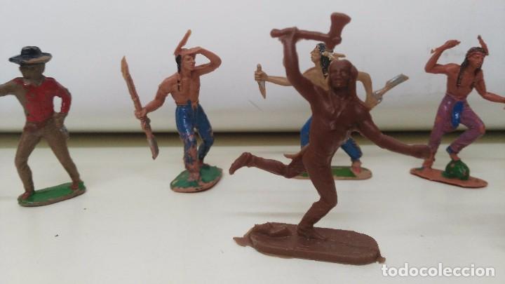 Figuras de Goma y PVC: lote de indios y vaqueros de pech y jecsan antiguos - Foto 3 - 96815307