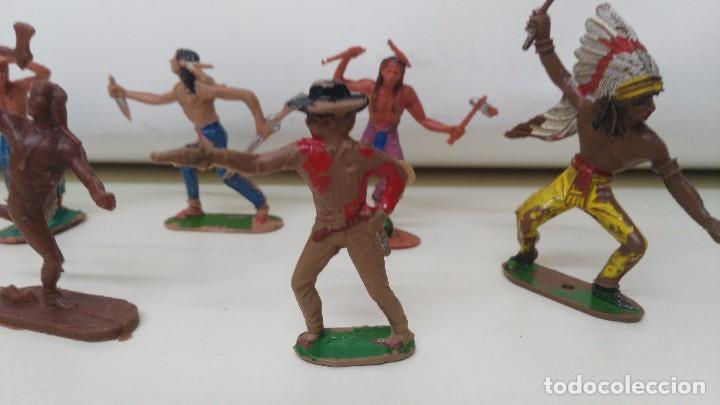 Figuras de Goma y PVC: lote de indios y vaqueros de pech y jecsan antiguos - Foto 4 - 96815307