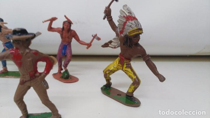Figuras de Goma y PVC: lote de indios y vaqueros de pech y jecsan antiguos - Foto 5 - 96815307