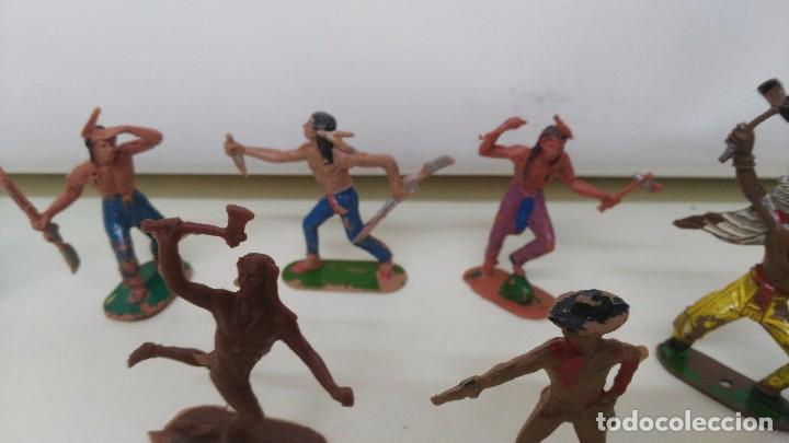 Figuras de Goma y PVC: lote de indios y vaqueros de pech y jecsan antiguos - Foto 6 - 96815307