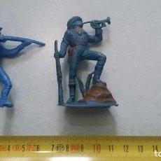 Figuras de Goma y PVC: 2 SOLDADOS CONFEDERADOS JINETE Y CORNETA JECSAN AÑOS 60 O 70´S. AUTÉNTICOS.. Lote 97640723