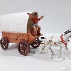 Figuras de Borracha e PVC: CARRETA CON TOLDO - MINI OESTE . REALIZADO POR COMANSI . AÑOS 60. Lote 99749887