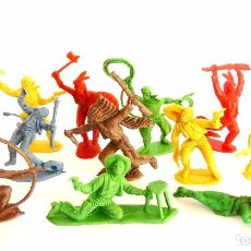 Figuras de Goma y PVC: LOTE 14 FIGURAS DE PLÁSTICO INDIOS COWBOYS VAQUEROS PIPERO..INDIO VAQUERO. AÑOS 60 - 70. Lote 100522455