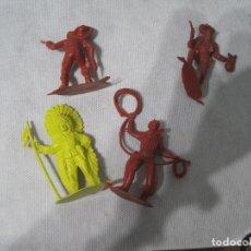 Figuras de Goma y PVC: MONTAPLEX-LOTE DE INDIOS Y VAQUEROS-AÑOS 70-80. Lote 101401895