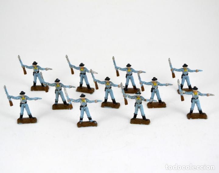 LOTE DE 11 SOLDADOS FEDERALES / MINI OESTE COMANSI (Juguetes - Figuras de Goma y Pvc - Comansi y Novolinea)