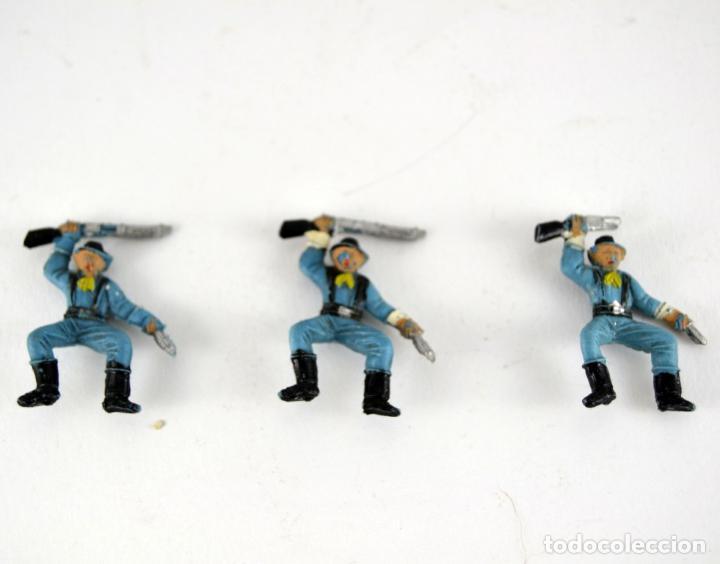 LOTE DE 3 SOLDADOS FEDERALES / MINI OESTE COMANSI (Juguetes - Figuras de Goma y Pvc - Comansi y Novolinea)
