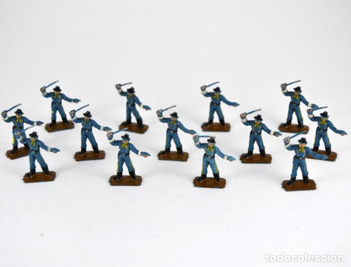 LOTE DE 13 SOLDADOS FEDERALES / MINI OESTE COMANSI (Juguetes - Figuras de Goma y Pvc - Comansi y Novolinea)
