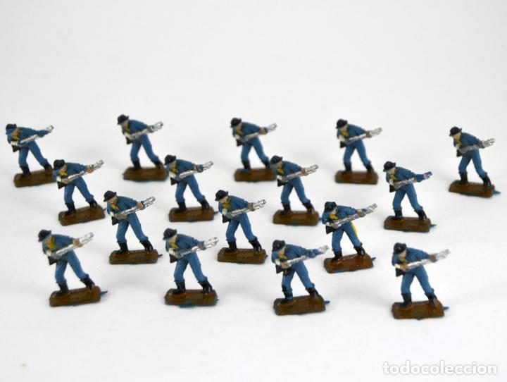LOTE DE 16 SOLDADOS FEDERALES / MINI OESTE COMANSI (Juguetes - Figuras de Goma y Pvc - Comansi y Novolinea)