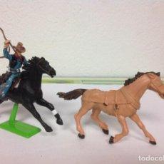 Figuras de Goma y PVC: FIGURA VAQUERO BRITAINS COWBOY OESTE RODEO LAZO CABALLO COMANSI NO PECH REAMSA JECSAN. Lote 101721427