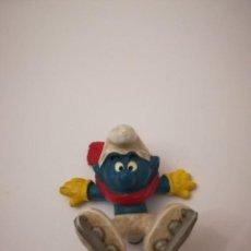 Figuras de Goma y PVC: SCHLEICH PITUFO ESQUIADOR FIGURA DE PVC MADE IN GERMANY PITUFOS SMURF SMURFS. Lote 102518315