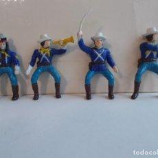 Figuras de Goma y PVC: PANINI WEST LOTE FIGURAS DE 7º CABALLERIA: 4 SOLDADOS JINETES EN GOMA DE UNOS 5CM.NO MINI OESTE.PTOY. Lote 103509083