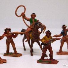 Figuras de Goma y PVC: LOTE, 6 FIGURAS DE PLASTICO, OESTE, VAQUEROS, MINI COMANSI, 1970S. Lote 104347075