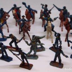 Figuras de Borracha e PVC: SUPER LOTE, 19 FIGURAS DE PLASTICO, SEPTIMO DE CABALLERIA, NINGUNA REPETIDA, MINI COMANSI, 1970S. Lote 104347799