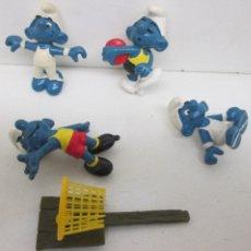 Figuras de Goma y PVC Schleich: LOTE 4 FIGURAS PVC PITUFOS DEPORTES PITUFO SMURF SMURFS SCHLUMPF PUFF PEYO 1980 SCHLEICH. Lote 89011424