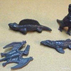 Figuras de Goma y PVC: 4 FIGURA DE PLASTICO, PREHISTORICOS, DINOSAURIOS, PREMIUM DANONE 1970S. Lote 106073587