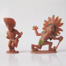 Figuras de Goma y PVC: 2 FIGURAS JECSAN DE BOYBIS - COW BOYS Y PIELES ROJITAS - 1965. Lote 106921011