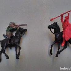 Figuras de Goma y PVC: LOTE COMANSI - 2 CABALLOS VAQUERO E INDIO. Lote 107900813