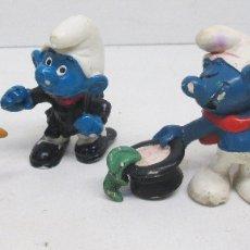 Figuras de Goma y PVC Schleich: LOTE 5 FIGURAS PVC PITUFOS PITUFO SMURF SMURFS SCHLUMPF PUFF PEYO. Lote 95970794