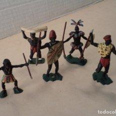 Figuras de Goma y PVC: 5 FIGURAS DE PLÁSTICO AFRICANOS DULCOP (ITALIA) O SIMILARES. Lote 109011195