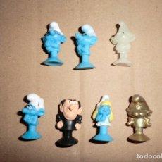 Figuras de Goma y PVC: FIGURAS VENTOSA DE LOS PITUFOS Y GARGAMEL ,AÑOS 80(MEDIDA 3 CM APROX). Lote 109532571