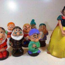 Figuras de Goma y PVC: ANTIGUOS MUÑECOS DE GOMA RIGIDA BLANCANIEVES Y LOS 7 ENANITOS. Lote 110572919