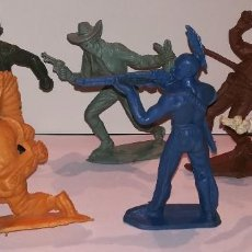 Figuras de Goma y PVC: FIGURAS COMANSI MONOCROMAS PRIMERA ÉPOCA VAQUEROS COWBOYS INDIOS. Lote 110596627