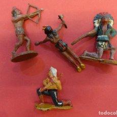 Figuras de Goma y PVC: LOTE DE 4 FIGURAS OESTE ARTICULADAS MARCA GAMA. ORIGINAL AÑOS 1950S. Lote 111340767