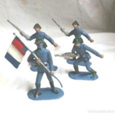 Figuras de Goma y PVC: 4 FIGURAS EJERCITO FRANCIA, ABANDERADO Y 3 SOLDADOS DE COMANSI. Lote 111627799