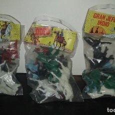 Figuras de Goma y PVC: LOTE 3 BOLSAS INDIOS Y VAQUEROS AÑOS 70 RODEO GRAN JEFE INDIO. Lote 111851599