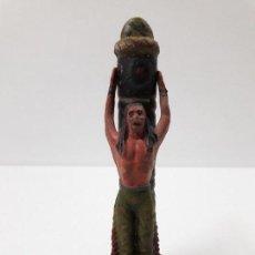 Figuras de Goma y PVC: POSTE DE TORTURA CON INDIO . FIGURAS REAMSA Nº 36 Y 37. AÑOS 50 EN GOMA. Lote 112004431