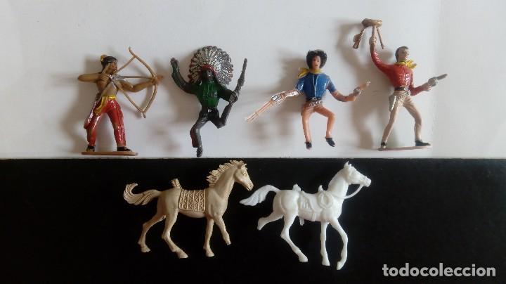 Figuras de Goma y PVC: COMANSI 2ª ÉPOCA: LOTE OESTE DE INDIOS Y COWBOYS/VAQUEROS + 2 CABALLOS. ORIGINALES AÑOS 70. PTOY - Foto 2 - 112059595