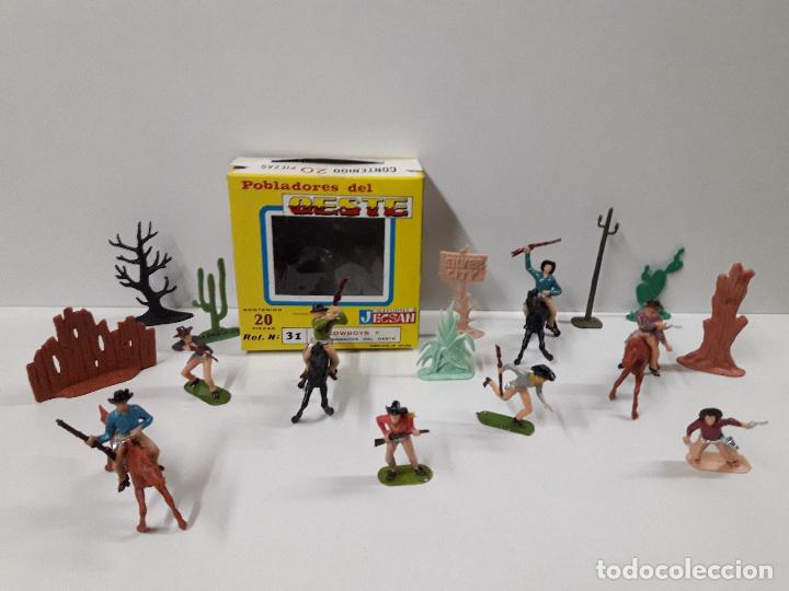 Figuras de Goma y PVC: CAJA POBLADORES DEL OESTE - REF Nº 31. REALIZADA POR JECSAN . AÑOS 60 / 70 - Foto 2 - 112726775