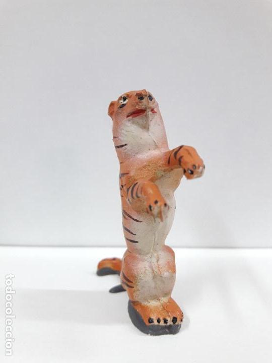 Figuras de Goma y PVC: TIGRE SENTADO - SERIE CIRCO . REALIZADO POR JECSAN . ORIGINAL AÑOS 50 EN GOMA - Foto 3 - 112804347